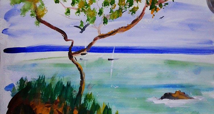 Морской пейзаж с деревом